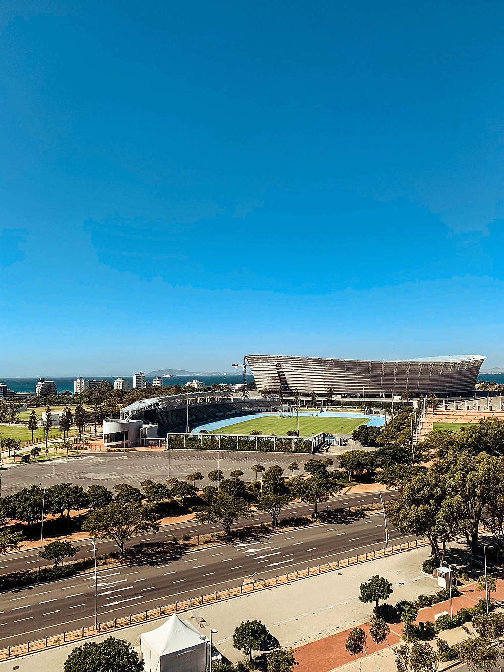 The Cape Town Stadium with Mouille Point in the distance