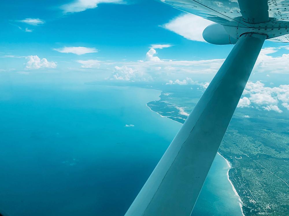 Crossing over the Indian Ocean between mainland Tanzania and Zanzibar