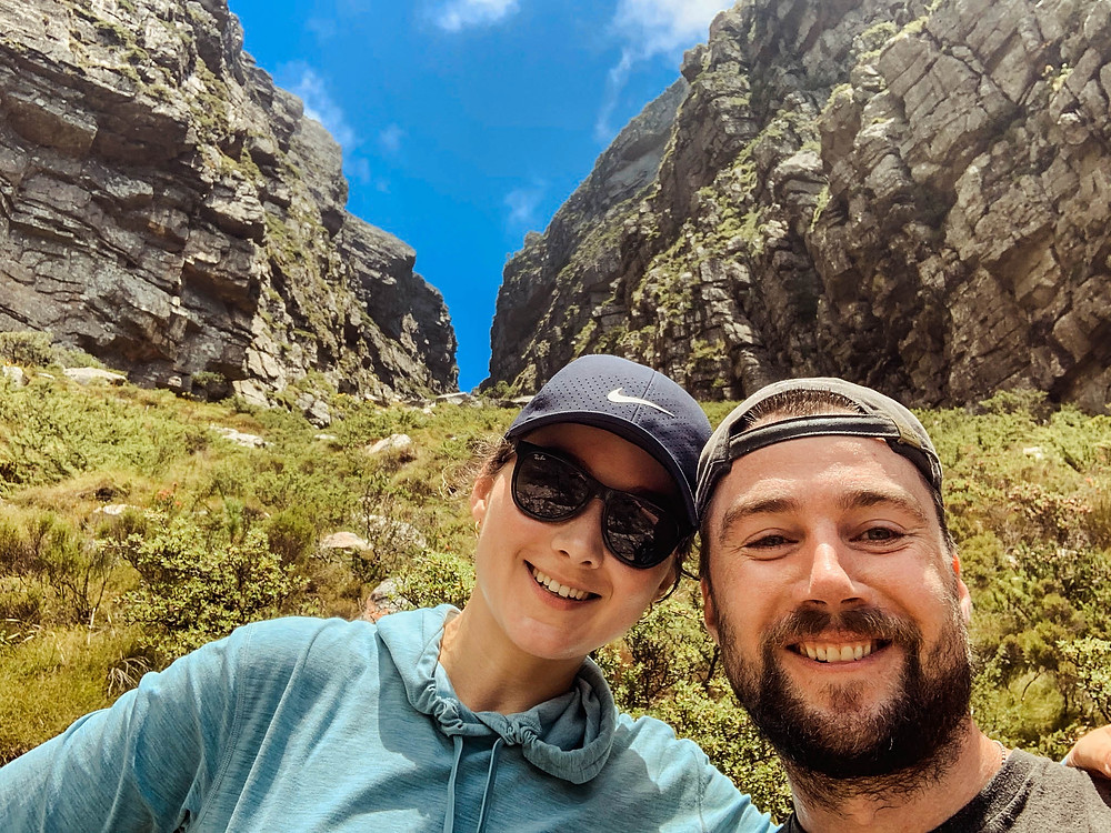 About half way up the Platteklip Gorge route - split in the side of Table Mountain behind us
