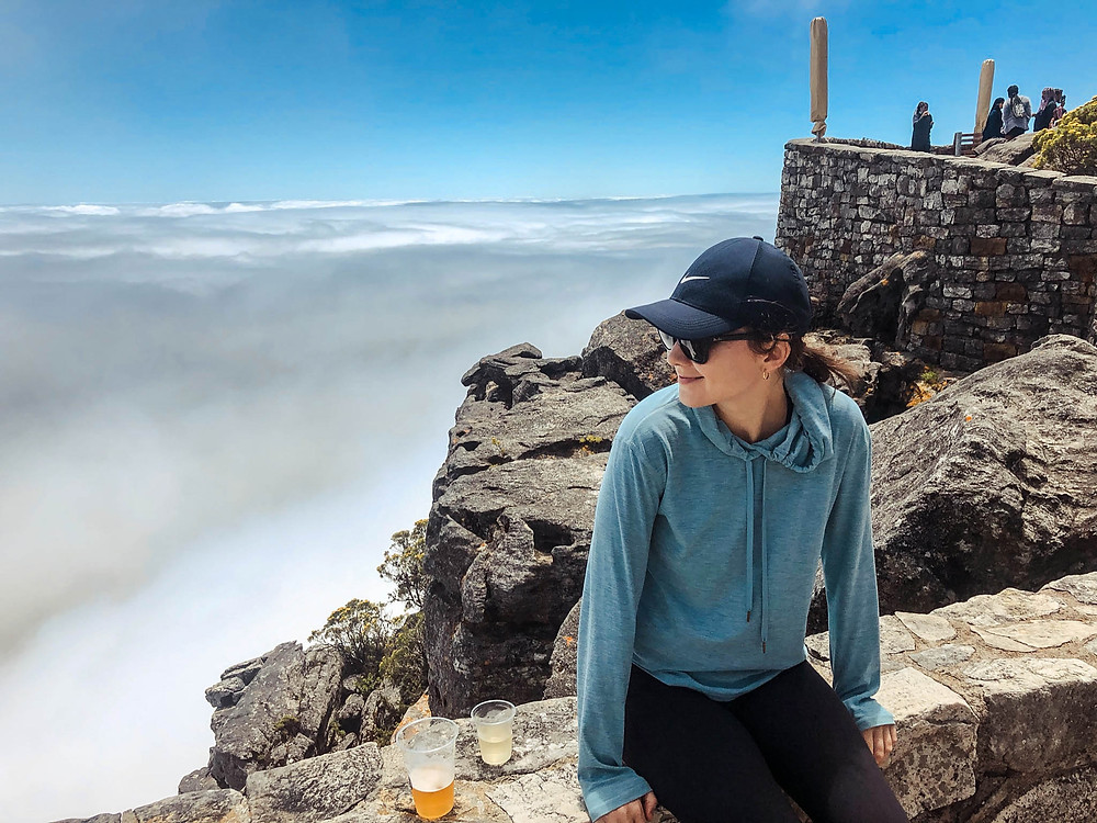 """On top of Table Mountain, with the """"table cloth"""" behind us..."""