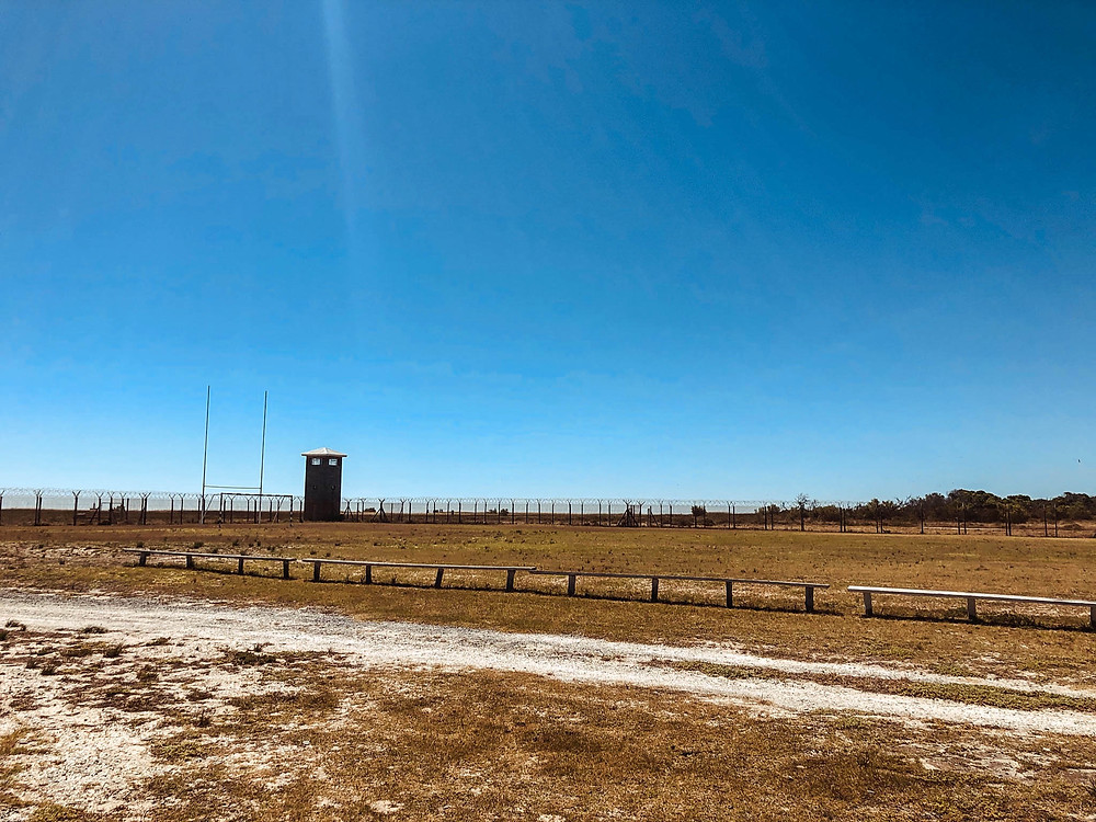 A soccer/rugby pitch - one of the few reforms granted prisoners in the 1970s and 80s on Robben Island