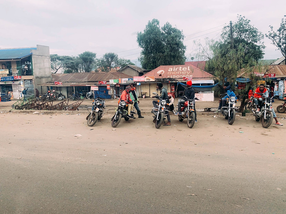 Motorcycle taxis waiting for a fare in Arusha