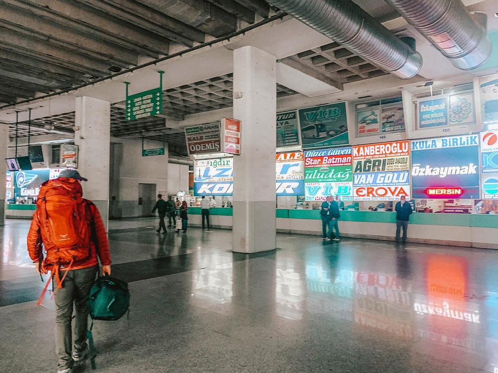 "Action shot at the Izmir bus terminal - notice Chipp carrying Jenna's ""backpack"""