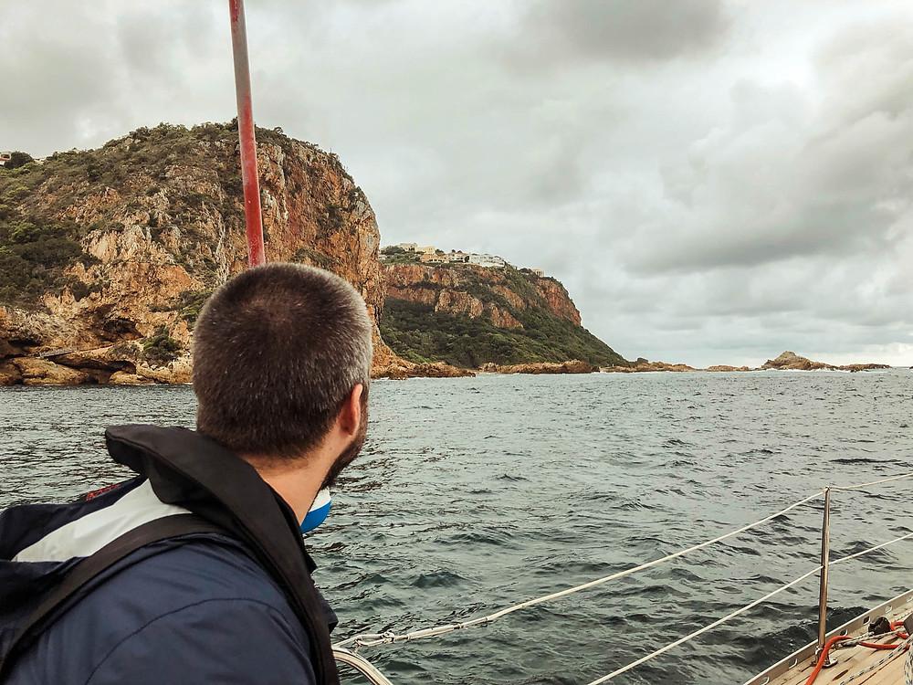 Sailing through the Knysna Heads