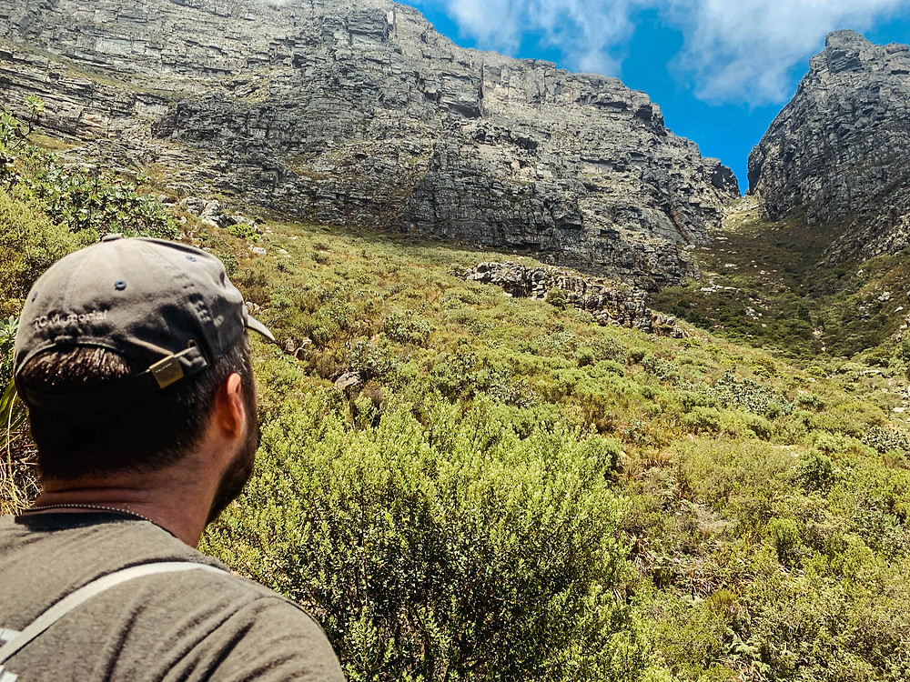 Contemplating the merits of our decision to climb Table Mountain...