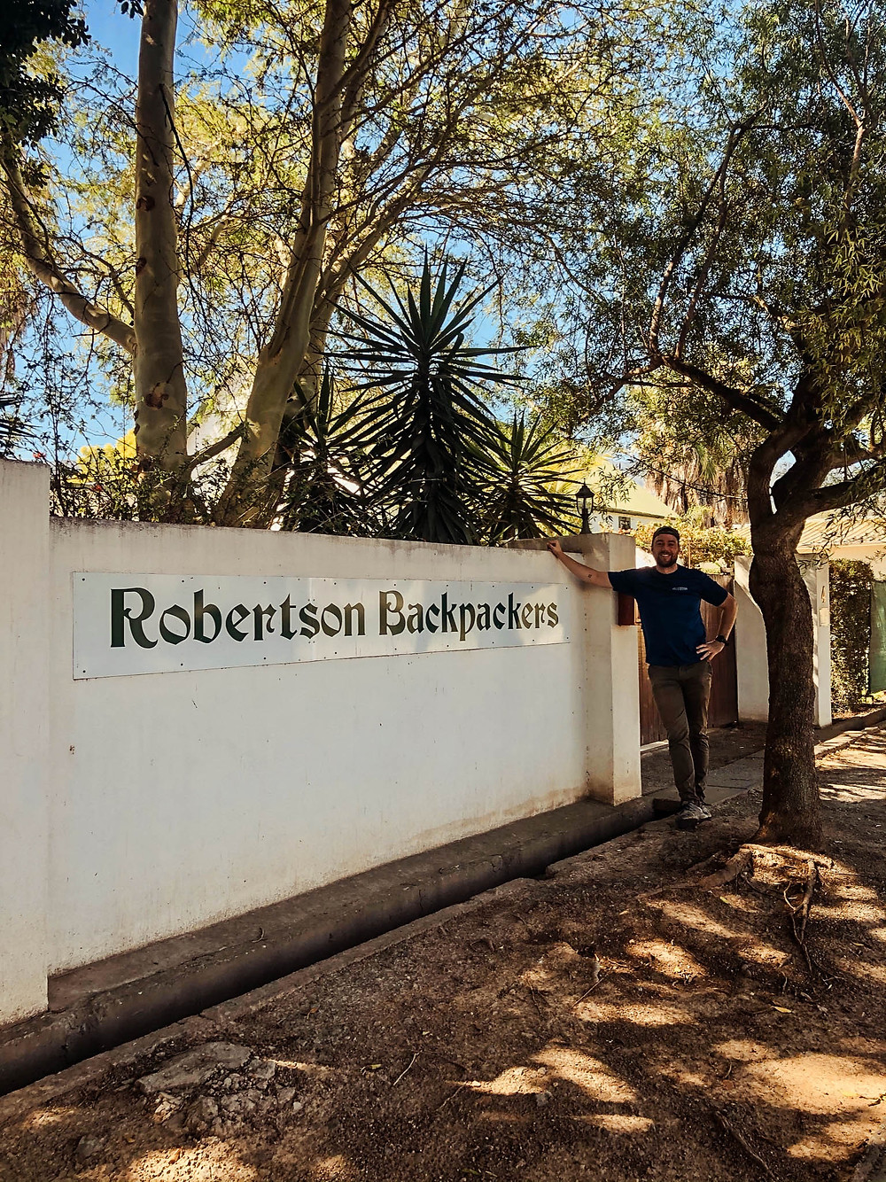 At the entrance to the Robertson Backpackers - great place to stay for a Route 62 visit!