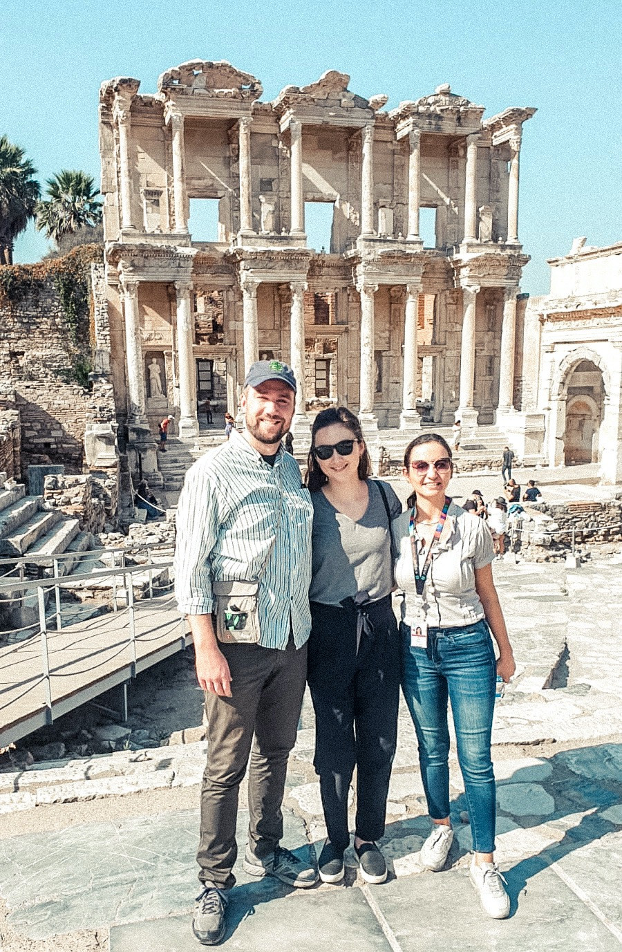 At the  Library of Celsus in ancient Ephesus with our awesome tour guide, Filiz