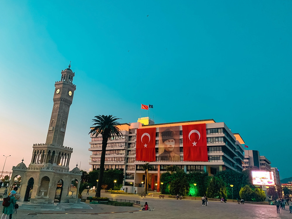 Sunset at Izmir's Konak Square clock tower