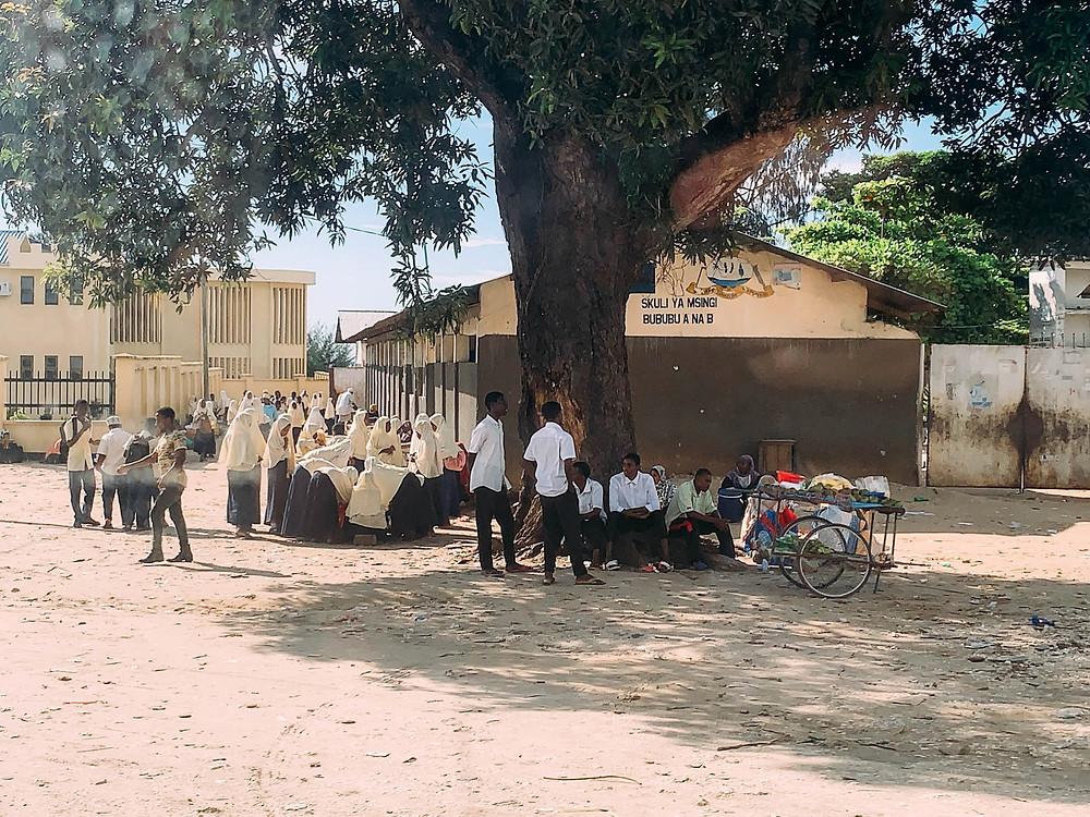 Passing a local school driving north through Zanzibar