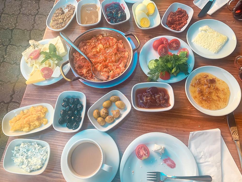 Traditional Turkish breakfast at Van Kahvalti Evi in Istanbul