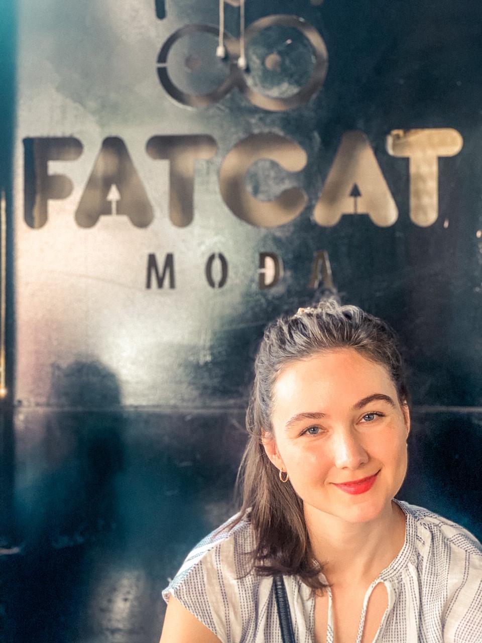 Jenna looking styling over coffee in Moda (Istanbul neighborhood)