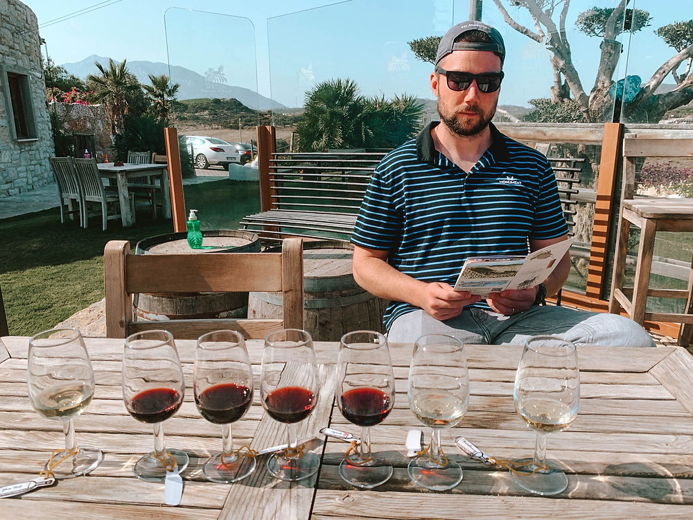 """Chipp narrating our """"wine journey"""" at Datca Vineyard"""