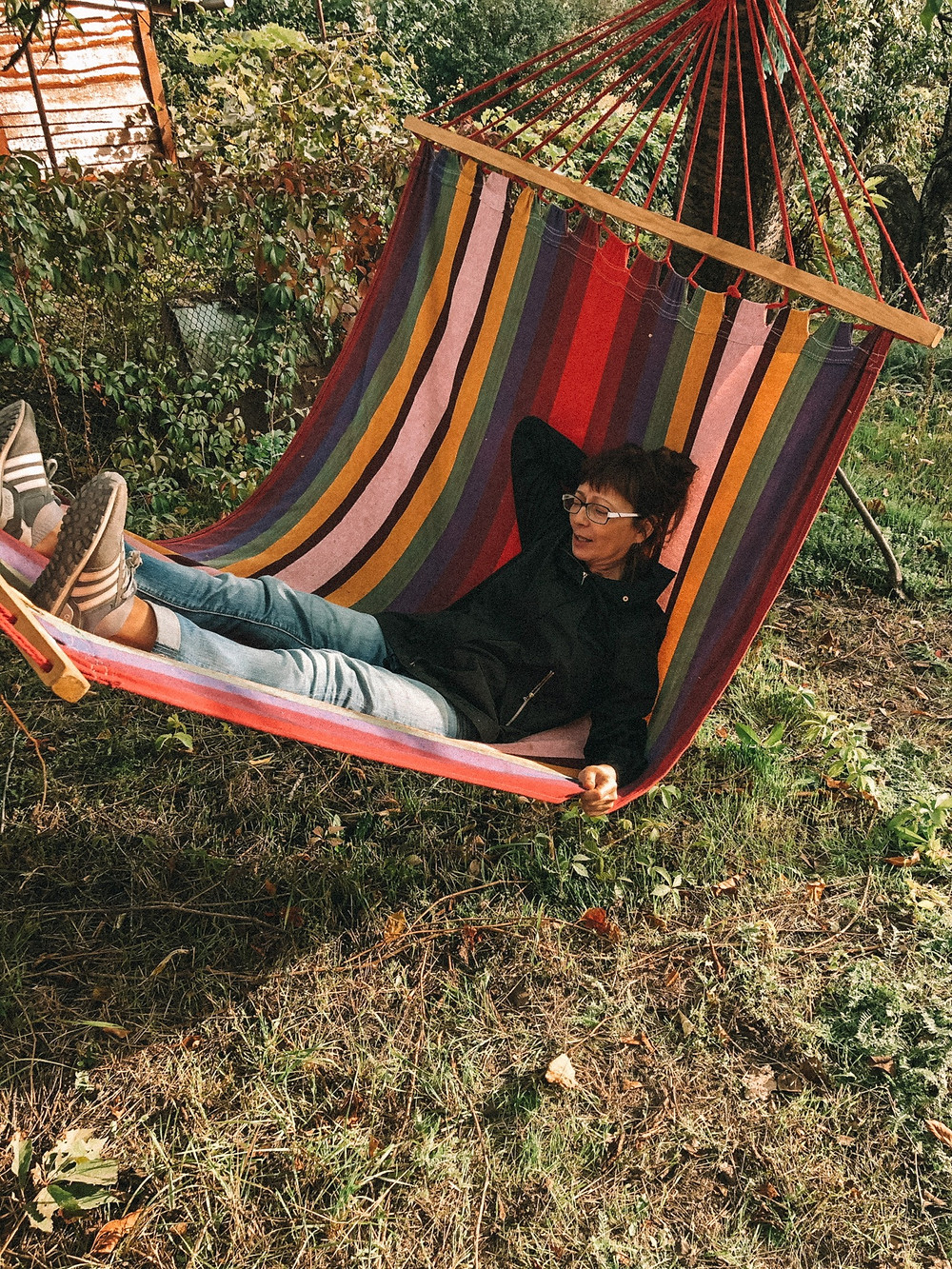 Jenna's mom, testing out the new hammock