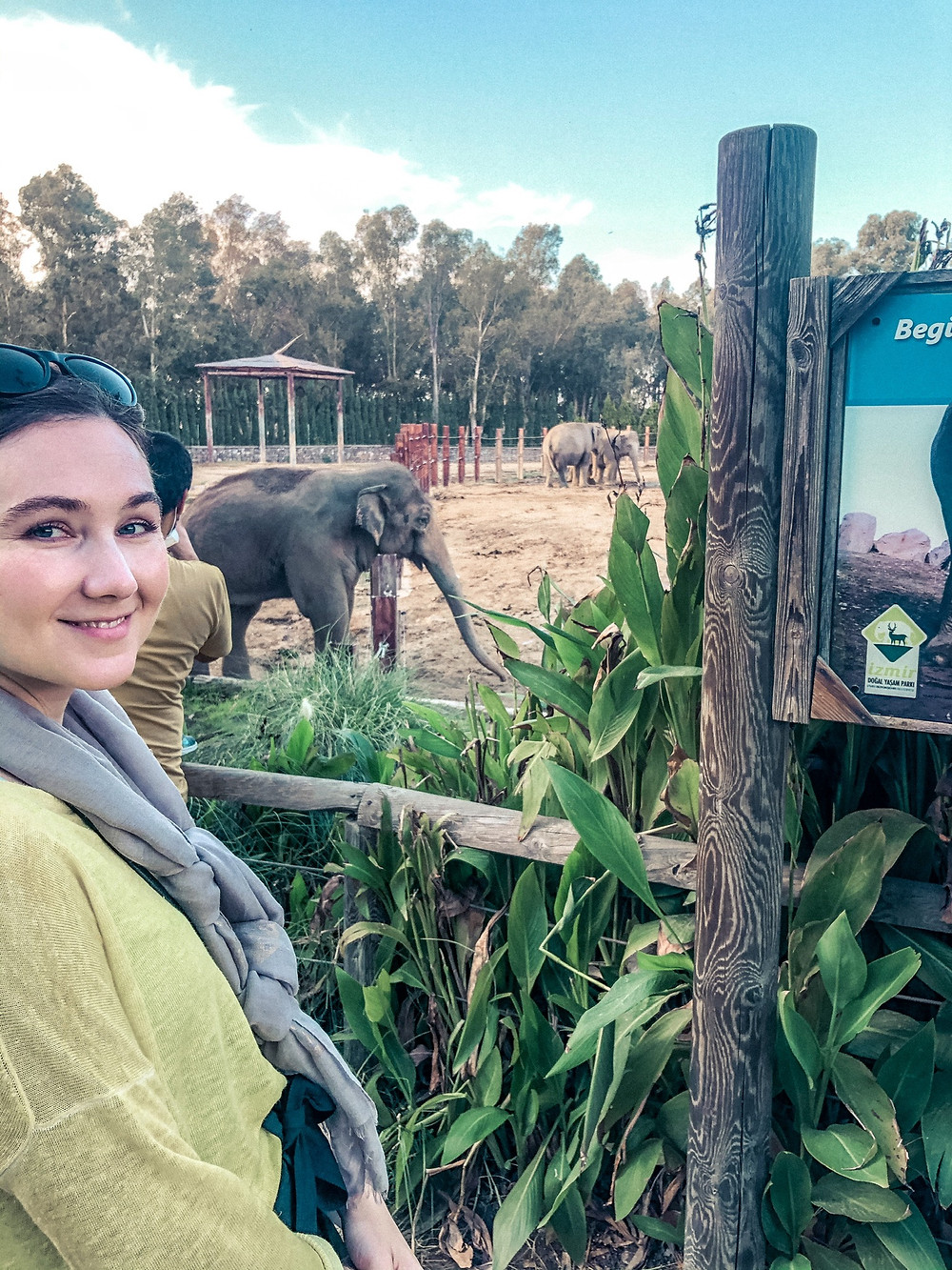 Jenna and Winner the Elephant - notice his missing right tusk...