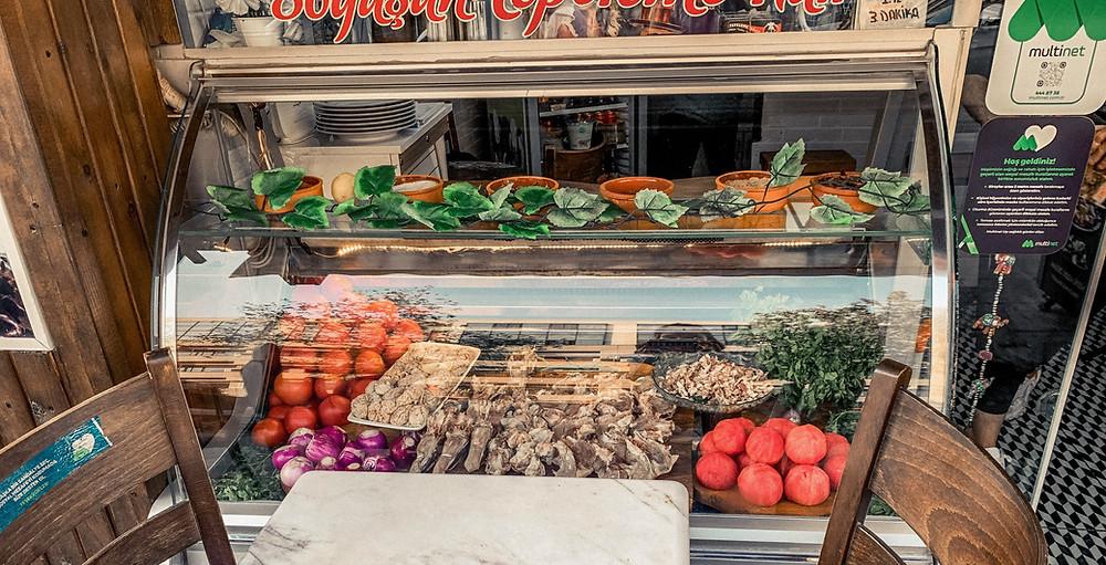 "A ""brainy"" display of söğüş ingredients in Izmir"