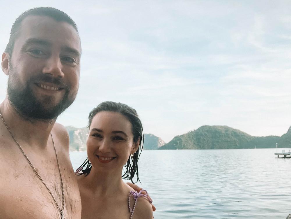 """Enjoying a swim at a """"hidden"""" beach between Marmaris and Icmeler"""