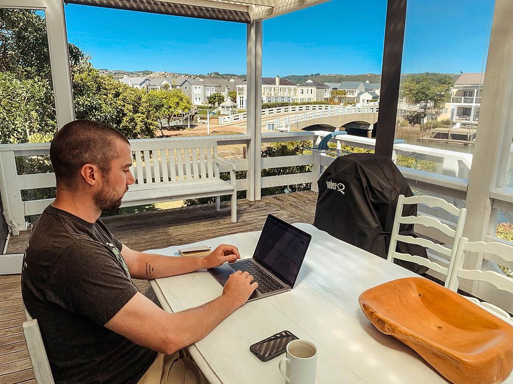 Not a bad work spot - ubiquitous green hills of the Garden Route in the background