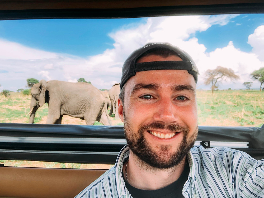 """Chipp and his new elephant """"friends"""" in Tarangire National Park"""