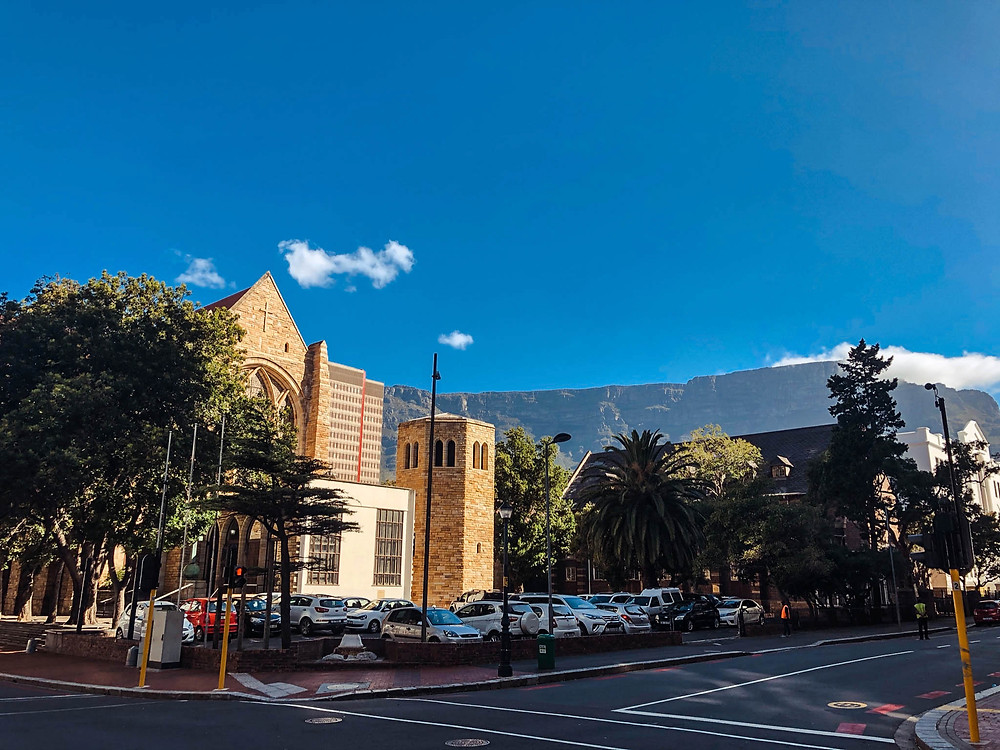 St. George's Cathedral at sunset, with Table Mountain in the background