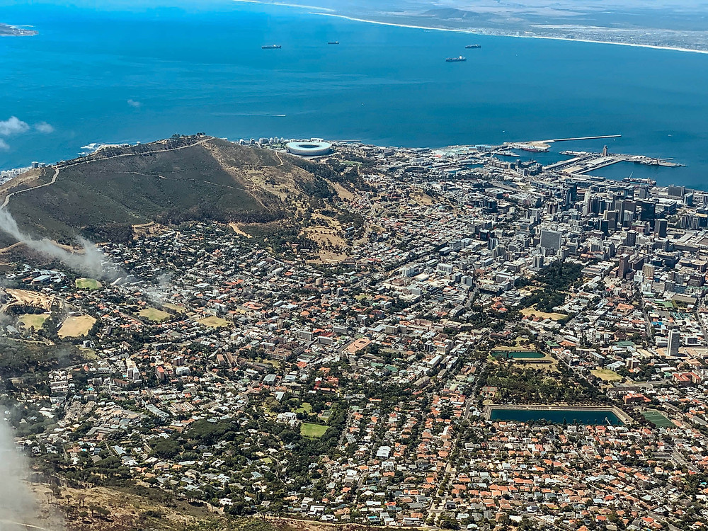 Looking down from Table Mountain into Cape Town's City Bowl and out to the waterfront