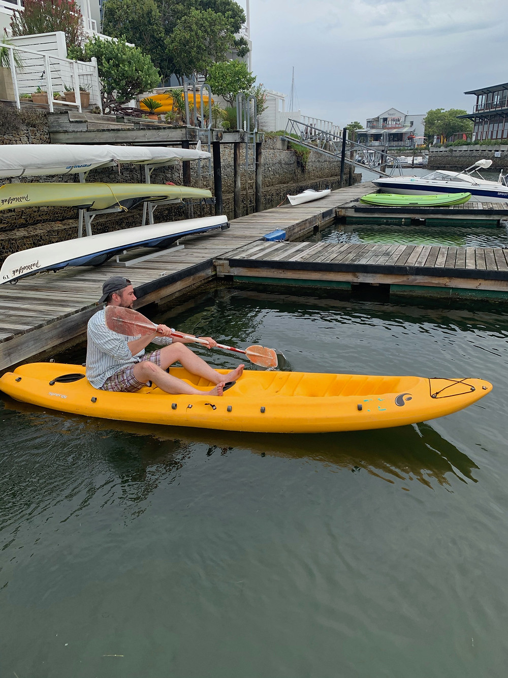 Chipp - not so smoothly - navigating to pick up Jenna for an afternoon kayak through the Thesen Island canals