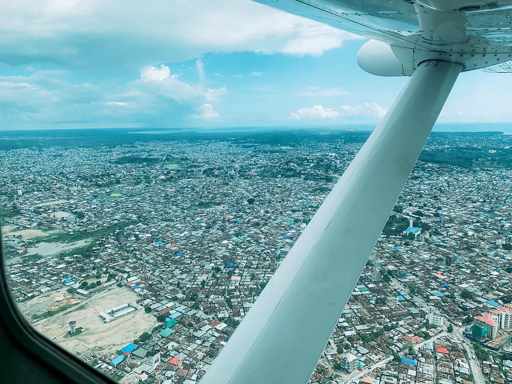 An aerial view coming into Zanzibar City
