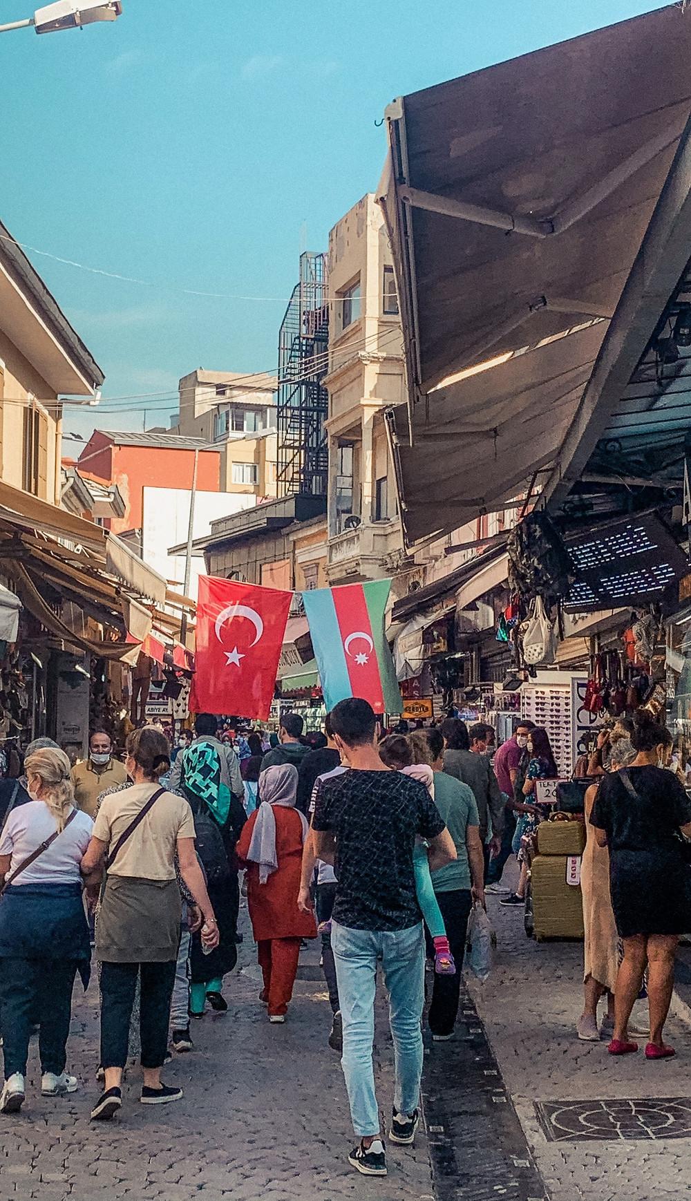 Strolling along a portion of Izmir's Kemeralti Bazaar