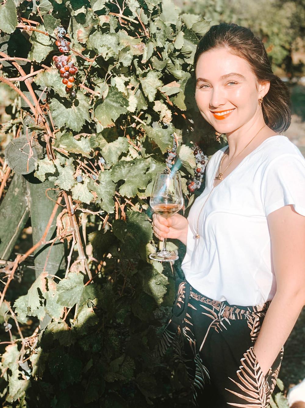 Jenna at Knidos Vineyard - ever the voice of reason!