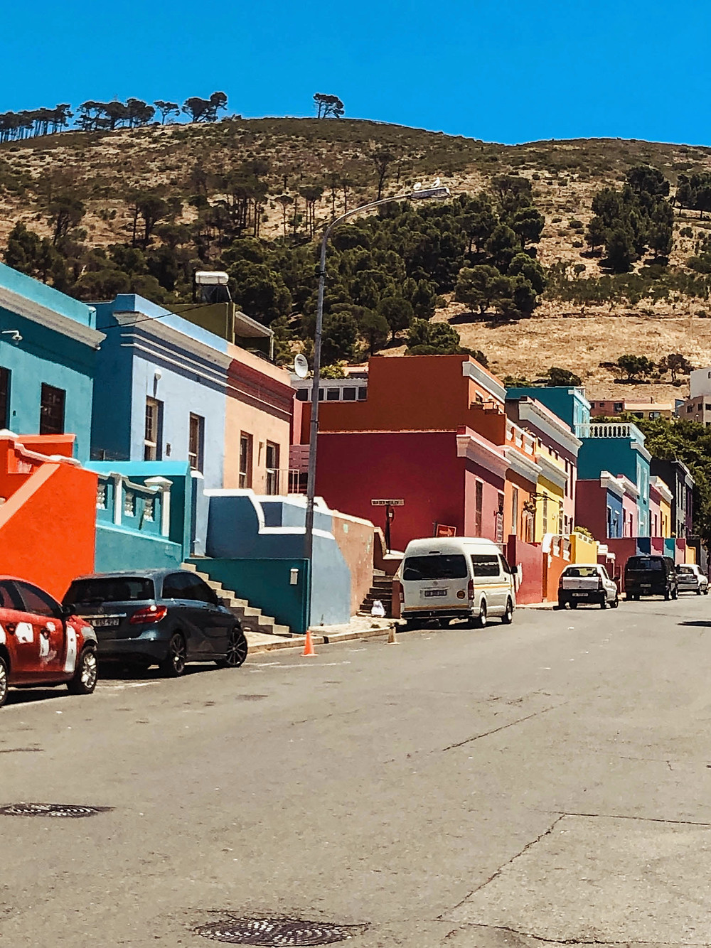 Looking up Bo-Kaap's main drag, Wale Street, lined with the neighborhood's iconic houses