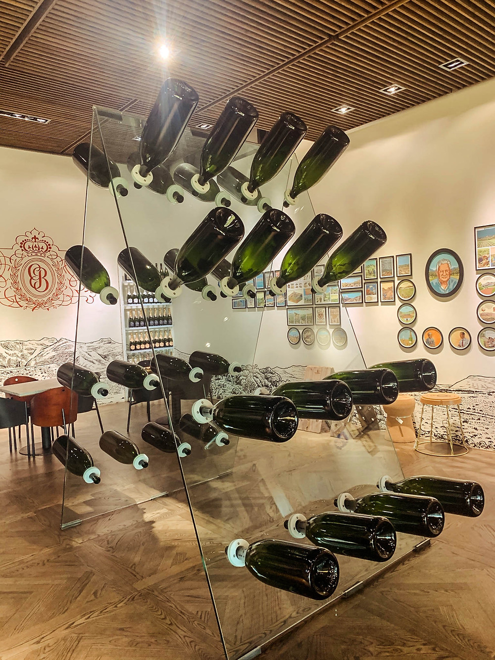 A display in Graham Beck walking you through MCC sparkling wine production