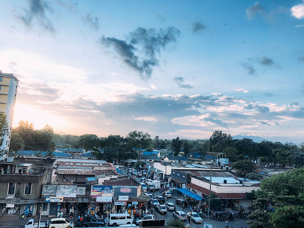 A bird's eye view of the streets surrounding Arusha's central market