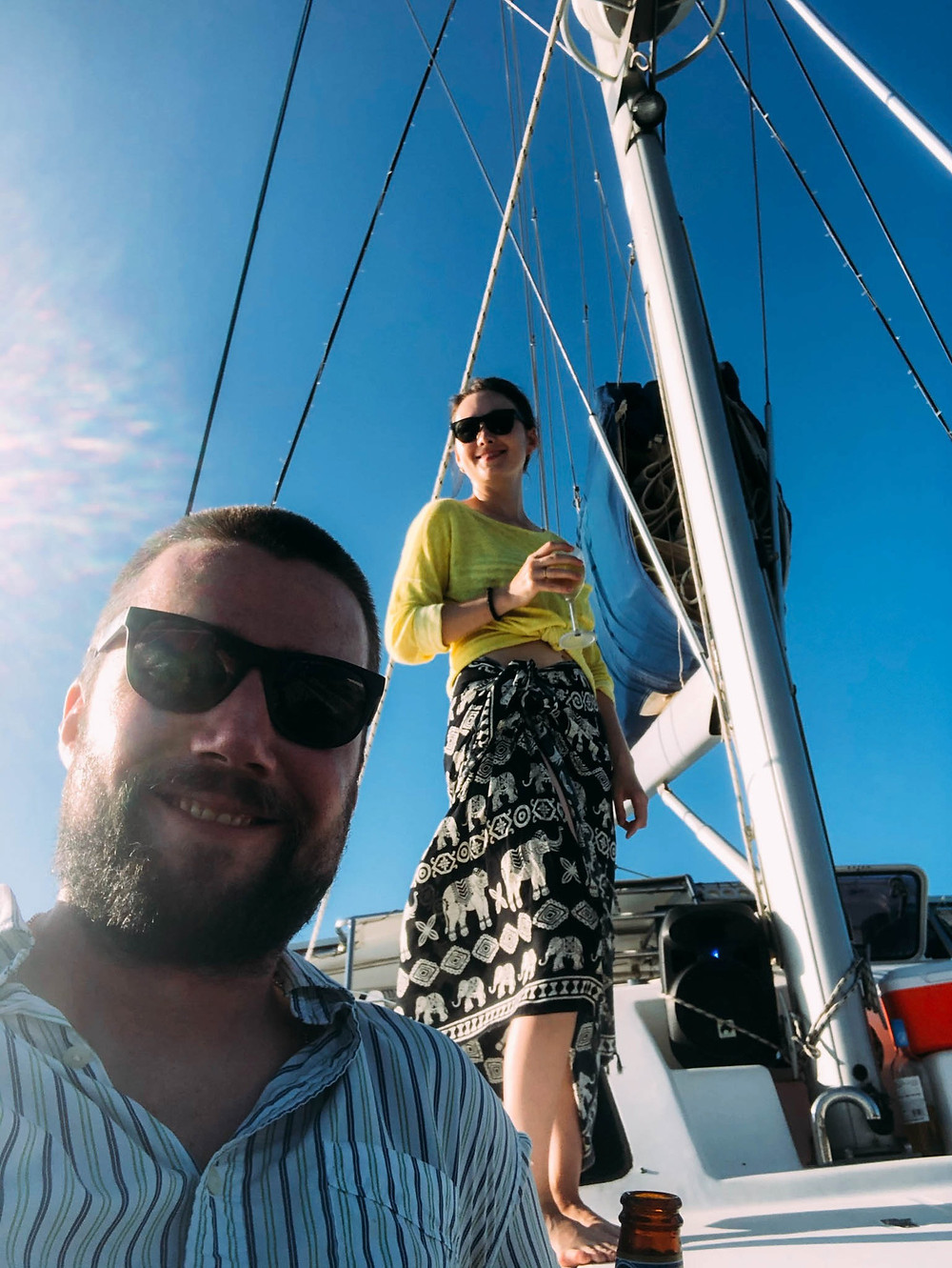 Aboard our Kendwa catamaran cruise - Chipp not willing to make the effort to stand for a picture...