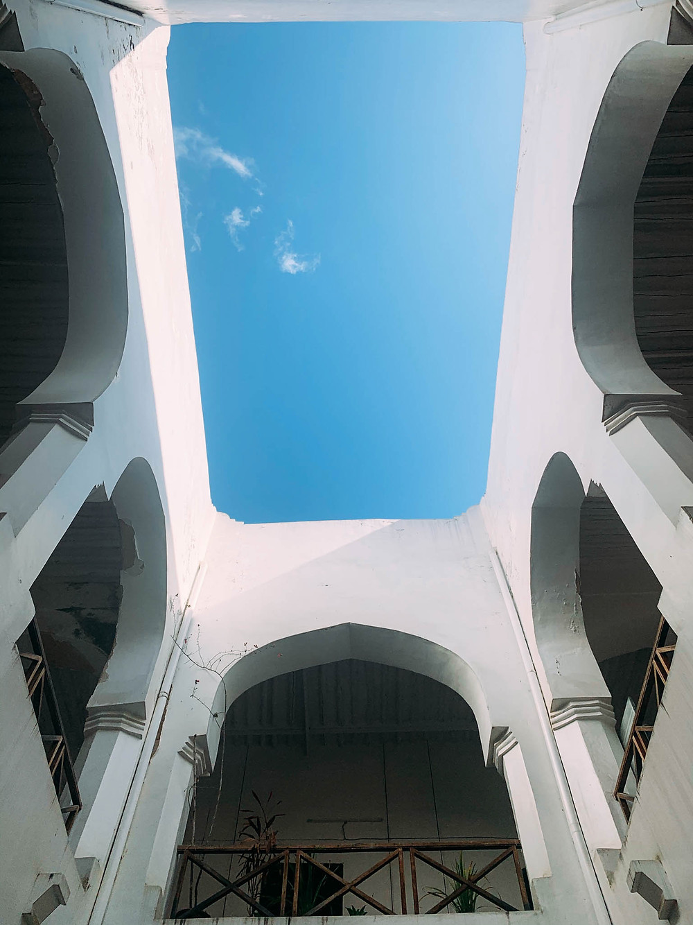 Looking up in the Zanzibar Coffee House's central courtyard