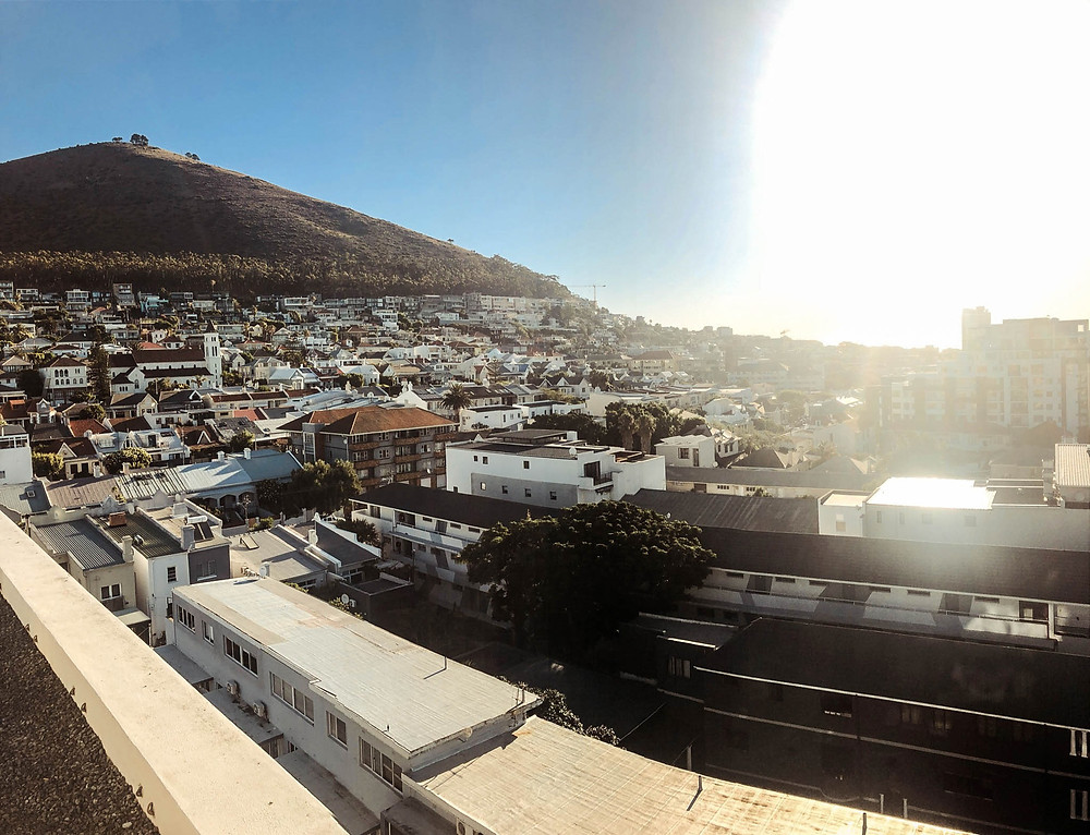 Looking out from the roof of our Green Point apartment at Signal Hill