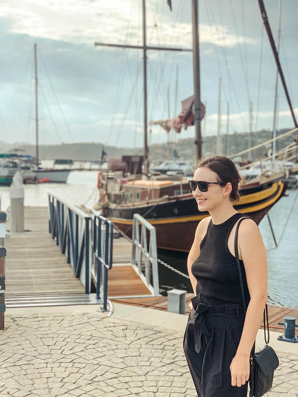 Jenna looking stylish in Knysna Harbor