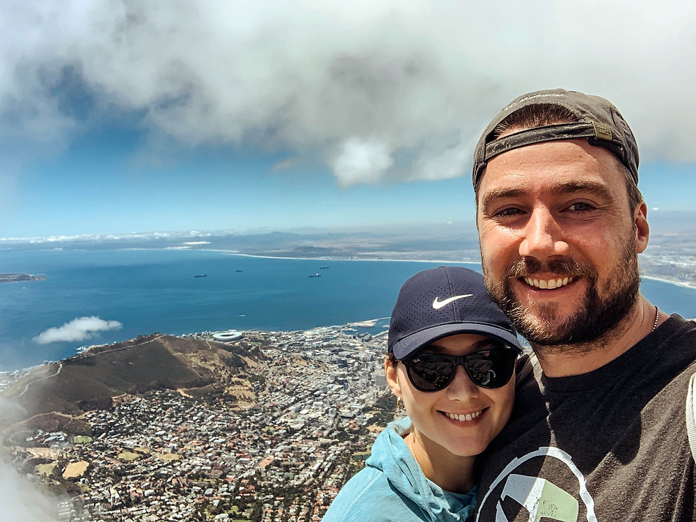 Enjoying a break in the clouds from the top of Table Mountain - and an incredible view of Cape Town!