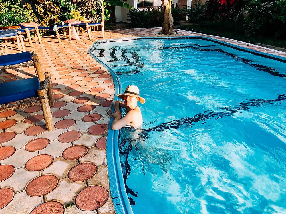 Enjoying the Highland Bungalows pool