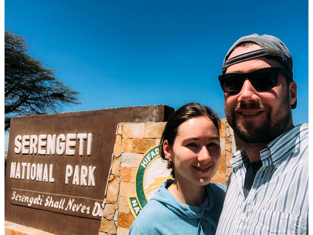 At the entrance to Serengeti National Park on our first day