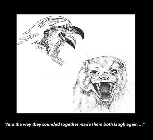 Hawk and Otter laughing on black bckgr c