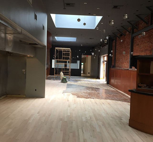 Refinishing 2000 s.f. of hardwood floors of commecial space on State St.