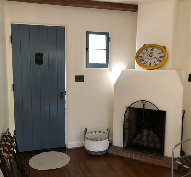 Guest house entrance & fireplace