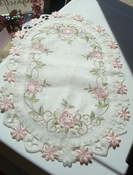 Pink Floral Doily