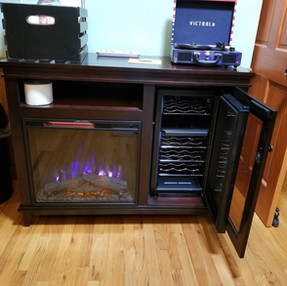 Infrared fireplace and Guest wine chiller