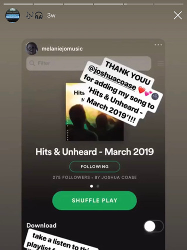 "Melanie Jo  Featured in Coase Media's ""Hits & Unheard - March 2019"" Spotify playlist."