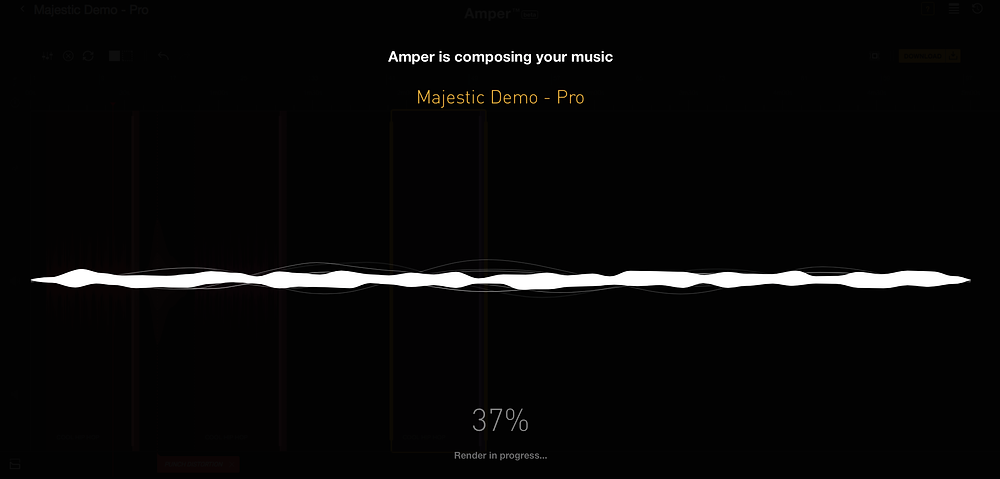 Amper Music Interface - Composition Rendering Screenshot