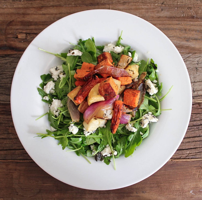 Roasted Root Veggies with Goat Cheese Arugula Salad