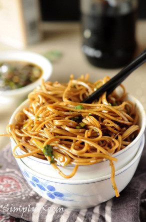 Sweet Ginger Scallion Soba Noodles with Stir Fried Veggies