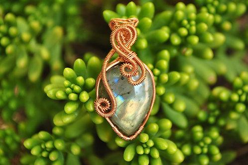 Copper Wrapped Labradorite Pendant