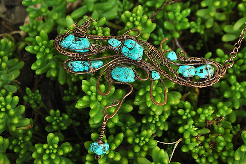 Turquoise Dragon Fly Wrapped Necklace