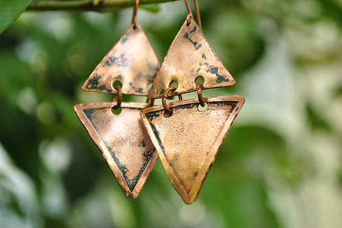 Triangle Copper Earrings
